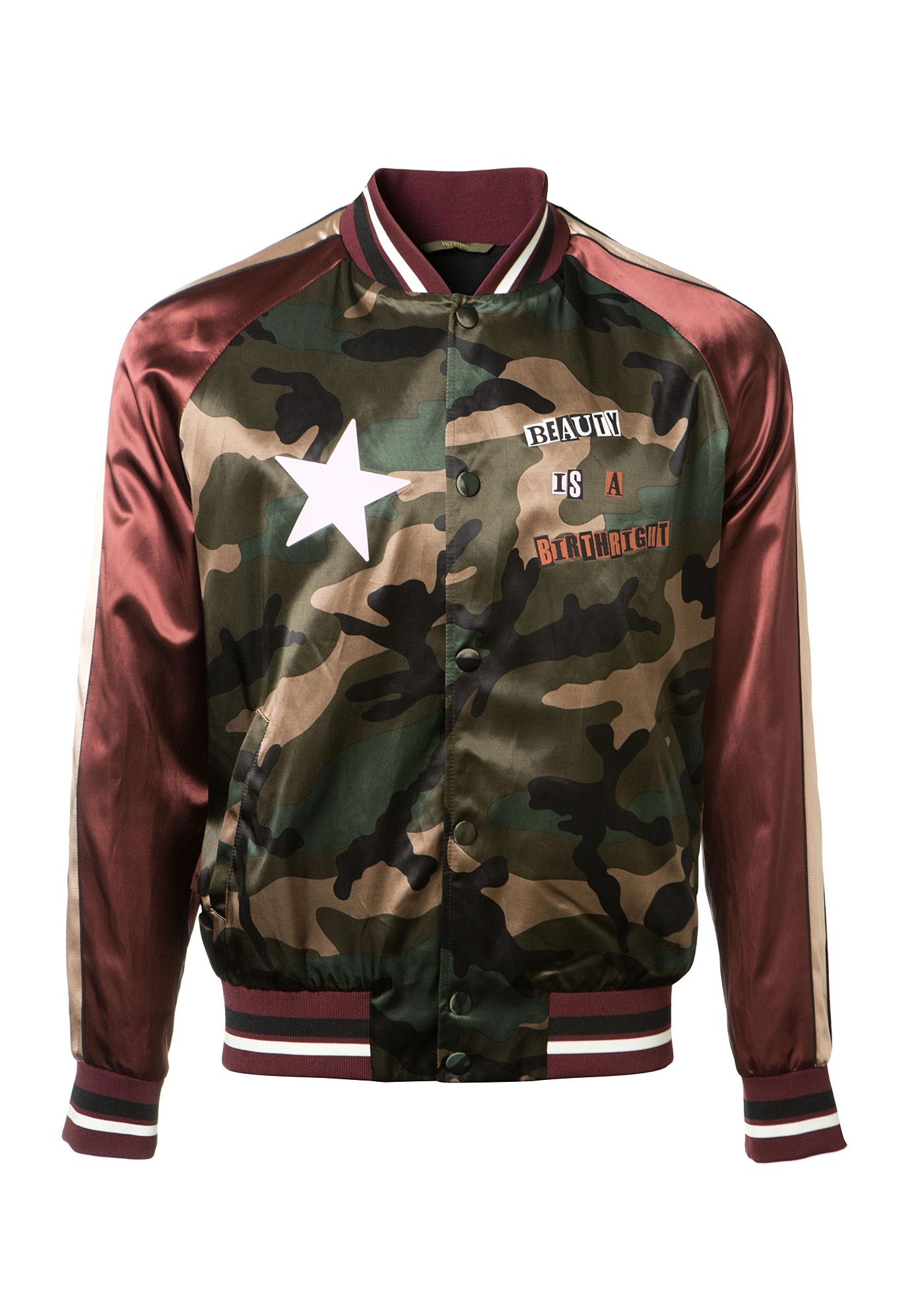 393a914c7 VALENTINO Valentino Camouflage Satin Souvenir Jacket With Patches ...