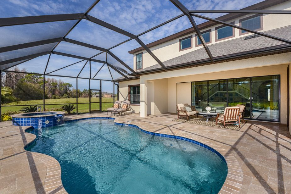 Gasparilla At Lakeshore Ranch Pool And Covered Lanai Pool Patio Florida Home Florida Pool