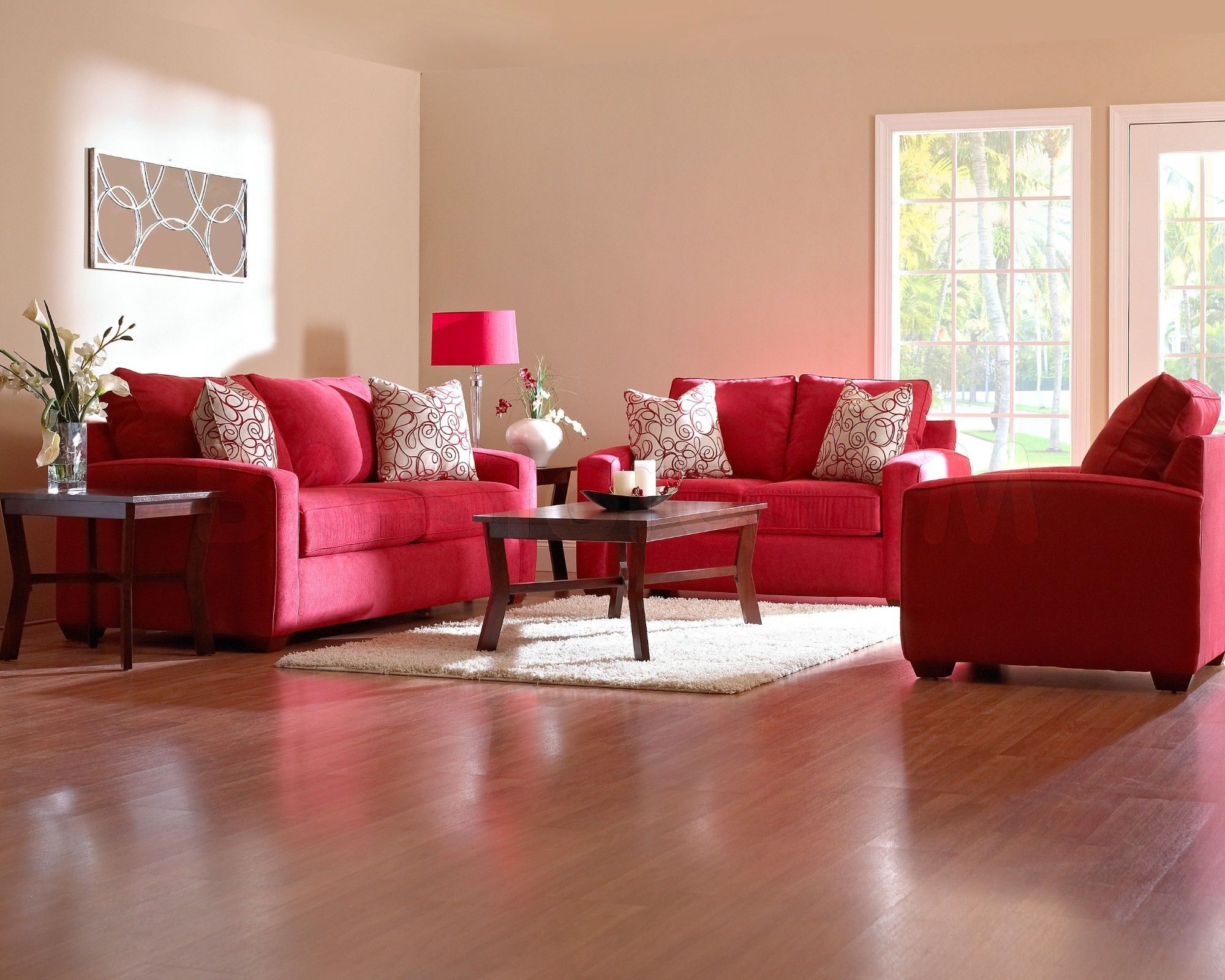 Enchanting Living Room Interior Sets with White Wall Paint feat Wooden Floor and Two Fabric Red