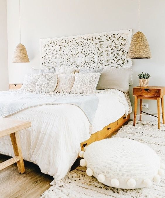 White Wood Craved Head Board With Rattan Hanging Pendant Lights Wood Nightstands Potted Plant In Gold P Home Decor Bedroom Bedroom Design Boho Master Bedroom