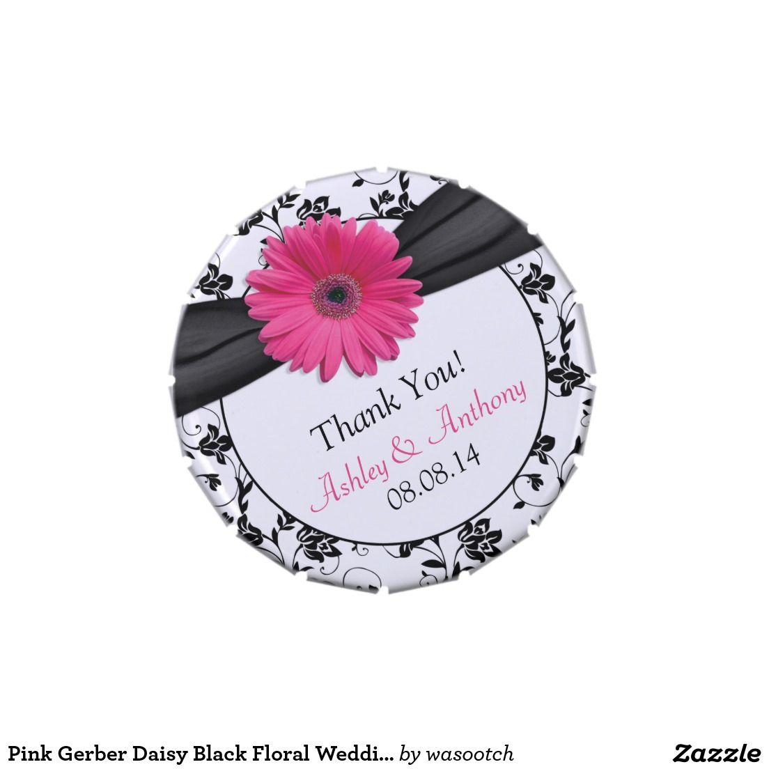 Pink Gerber Daisy Black Floral Wedding Candy Tin   Wedding candy ...