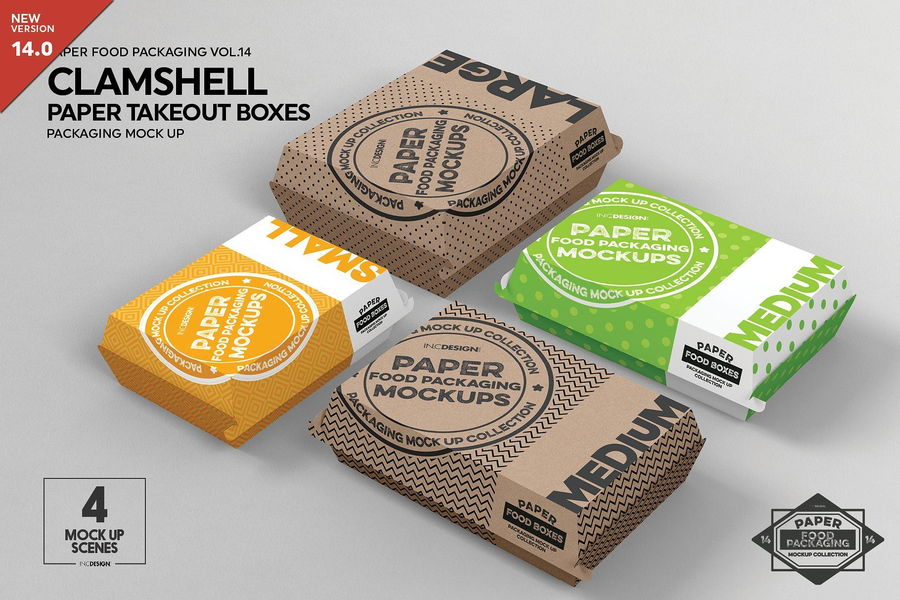 Download Paper Clamshell Takeout Boxes Mockup Packaging Mockup Box Mockup Free Packaging Mockup
