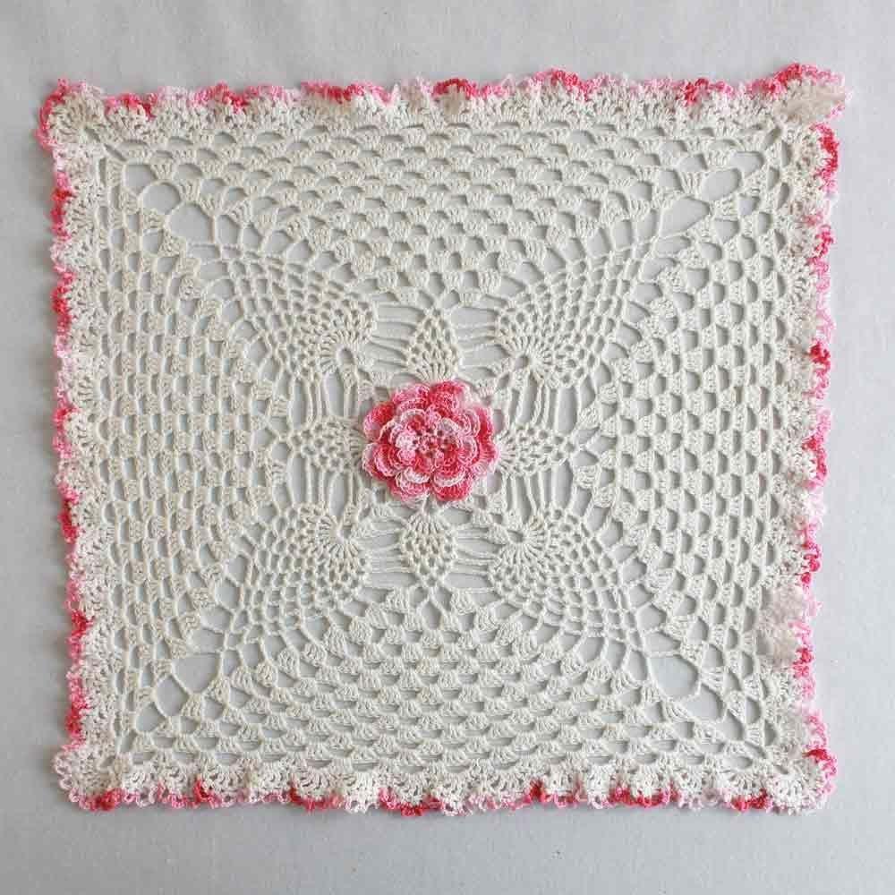 Pineapple & Rose Granny Square Doily Crochet Pattern   Cotton thread ...