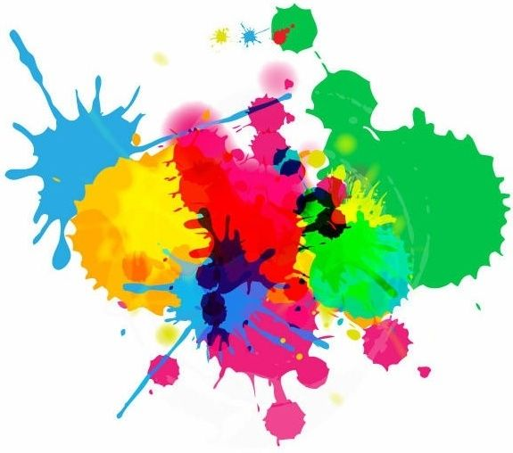Colorful Bright Ink Splashes White Background