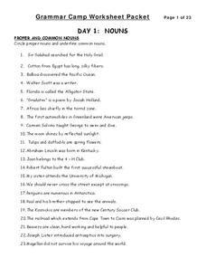 Grammar Camp Worksheet Packet Worksheet Grammar Pinterest