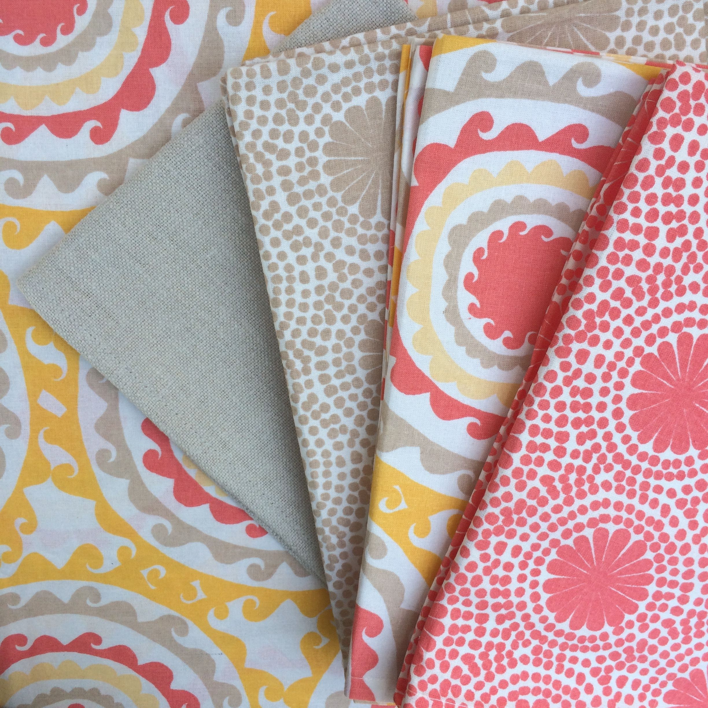 feeling a little tropical, take a look at these happy napkins to rustle the palms. available in three patterns  - 'caribe', apricot...'archer', apricot/yelow...'oyster', natural.  sold in sets of four. machine washable in a cotton blend. by john robshaw.