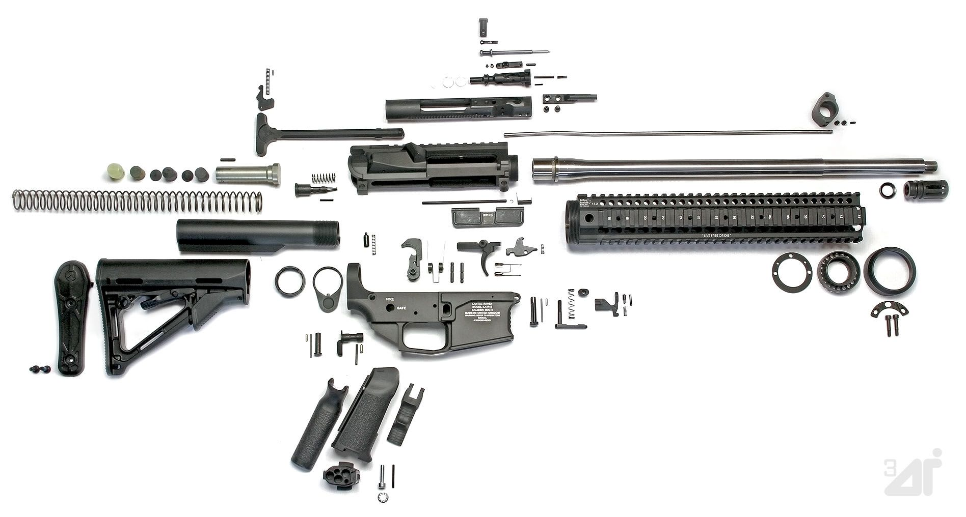 Completely Disassembled Ar 15