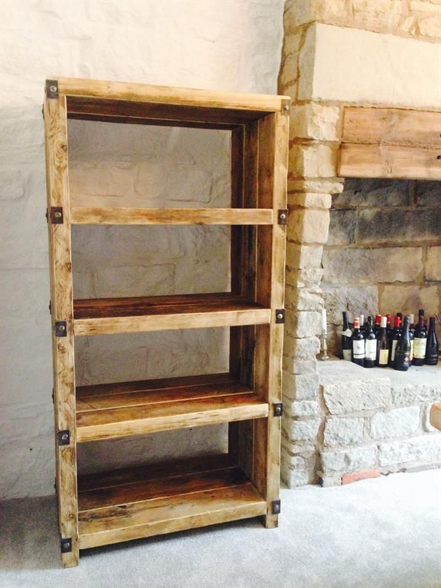 Industrial Colonial Style Reclaimed Wood and Metal Shelving Unit - Industrial Colonial Style Reclaimed Wood And Metal Shelving Unit