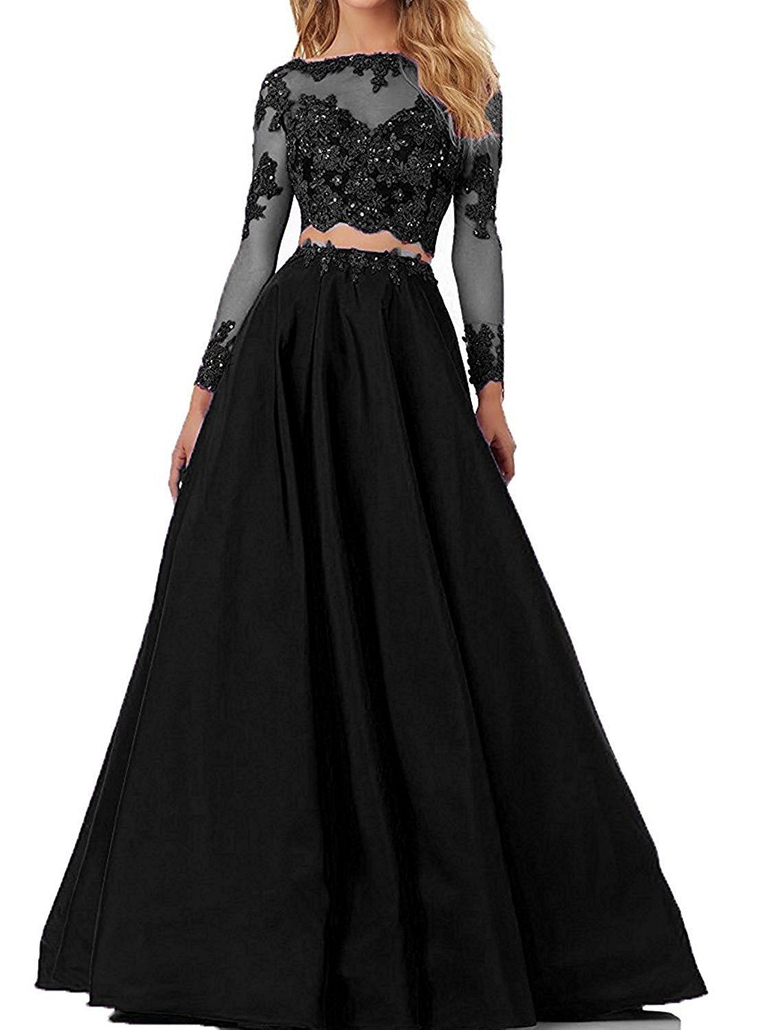 Qijunge womens two pieces prom dresses lace long sleeves evening