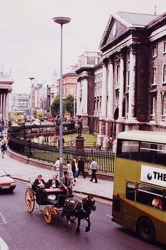 Trinity College Dublin, 1990 - Horses and carts in city centres and yes we do still have them!