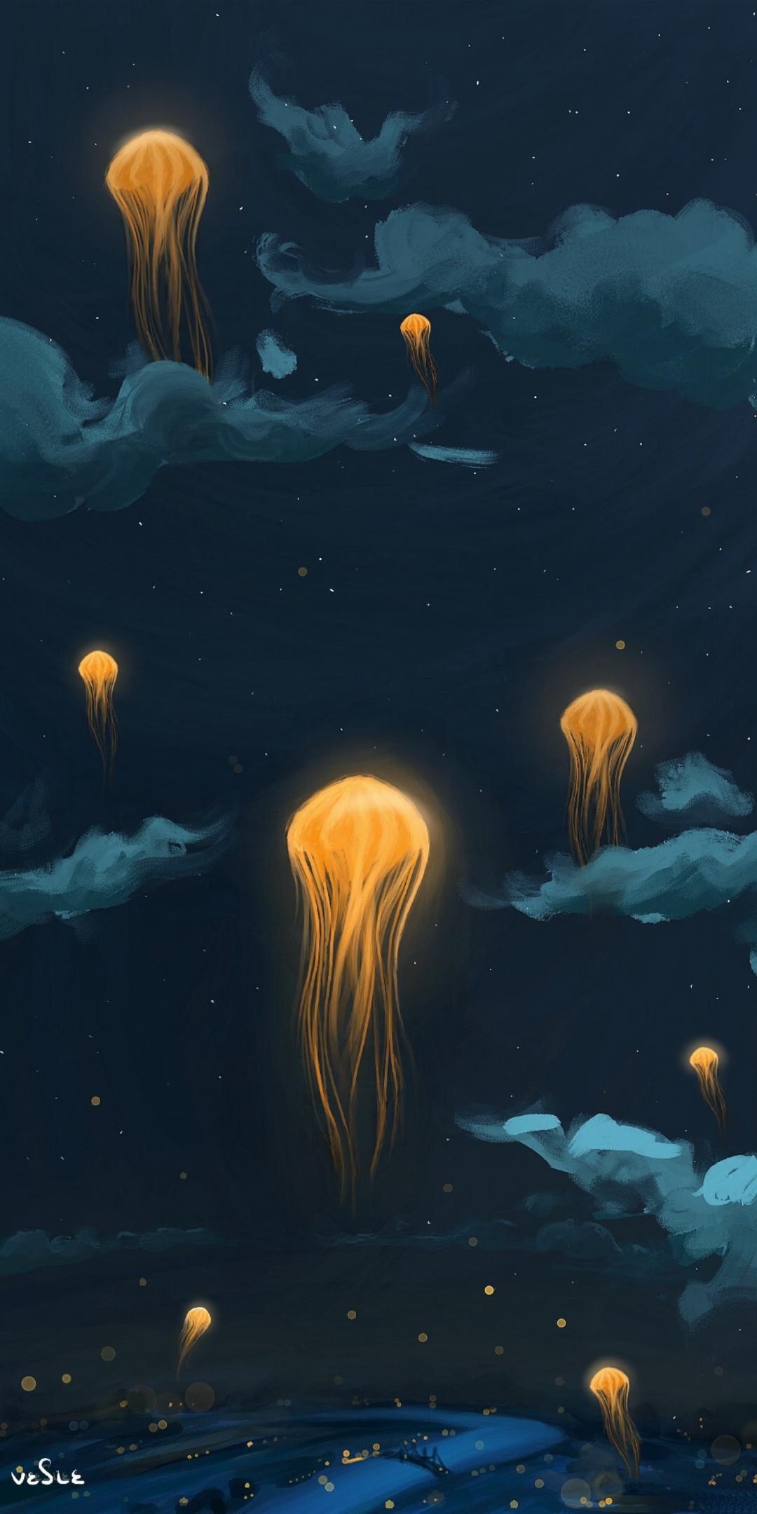 Jellyfish, lanterns, flight, clouds, night, 1080x2160 wallpaper