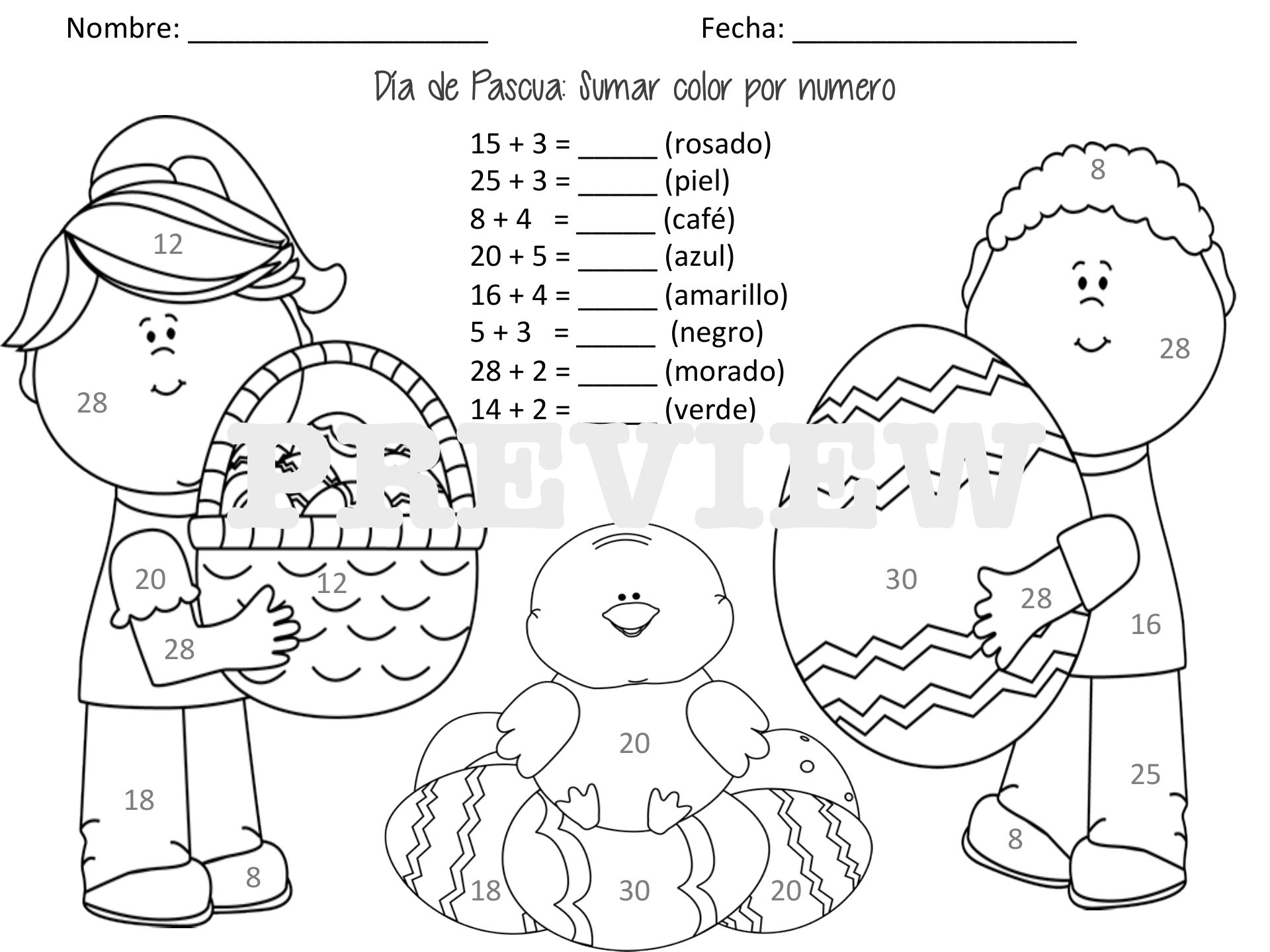 Easter Color by Number: Addition (Spanish & English) | Spanish ...