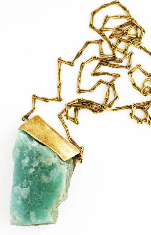 Amazonite and brass with brass chain - 30""