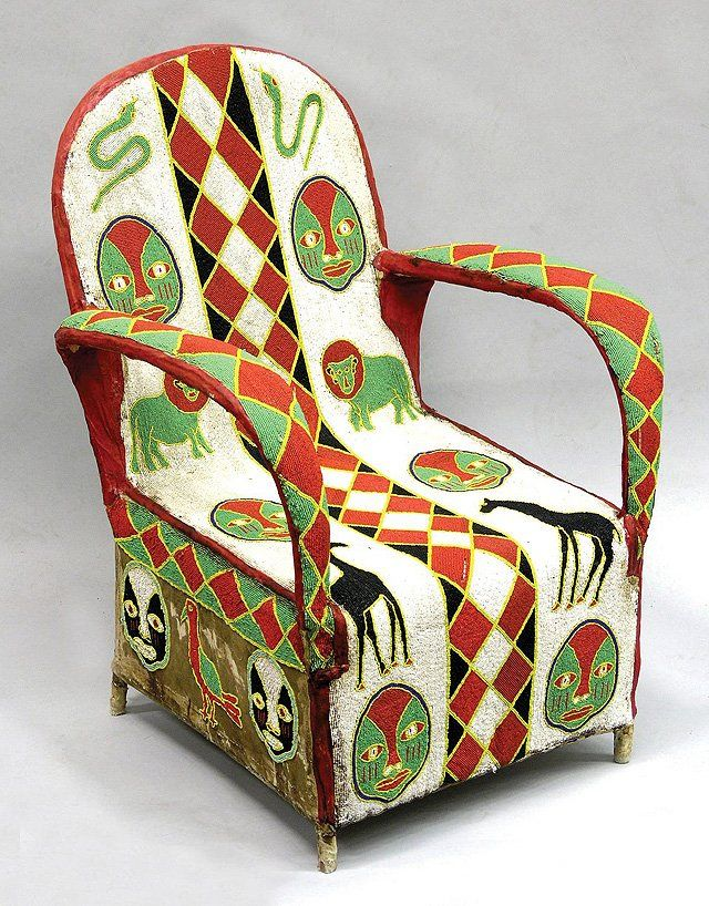 Africa Beaded chair from the Yoruba people of Nigeria