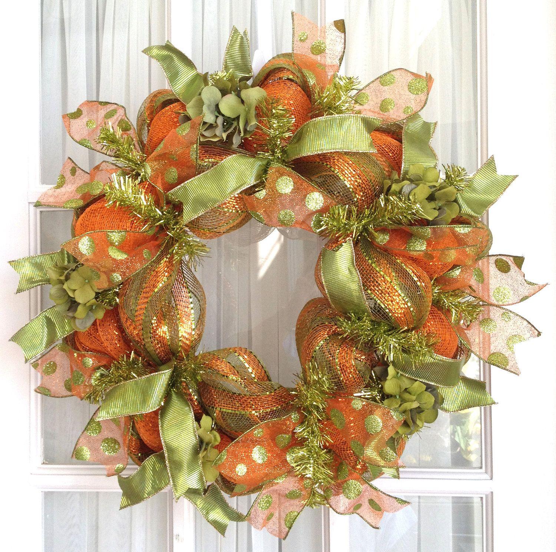 Deco Mesh Wreath Fall Slim Screen Door Lime Orange Hydrangeas