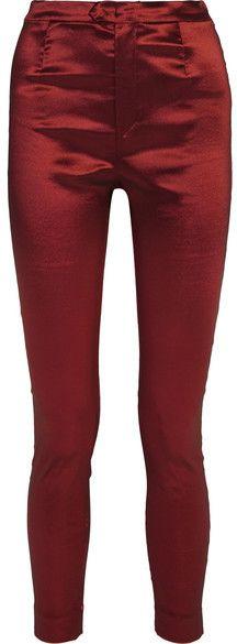 Isabel Marant - Nevada Stretch-taffeta Skinny Pants - Claret