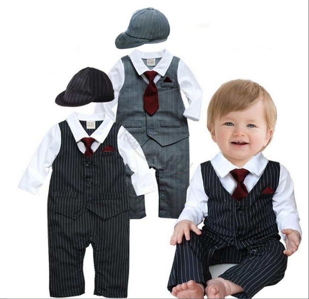 3ef2b20ce9b7  14.69 - Baby Boy Wedding Formal Dressy Tuxedo Suit Striped Romper ...