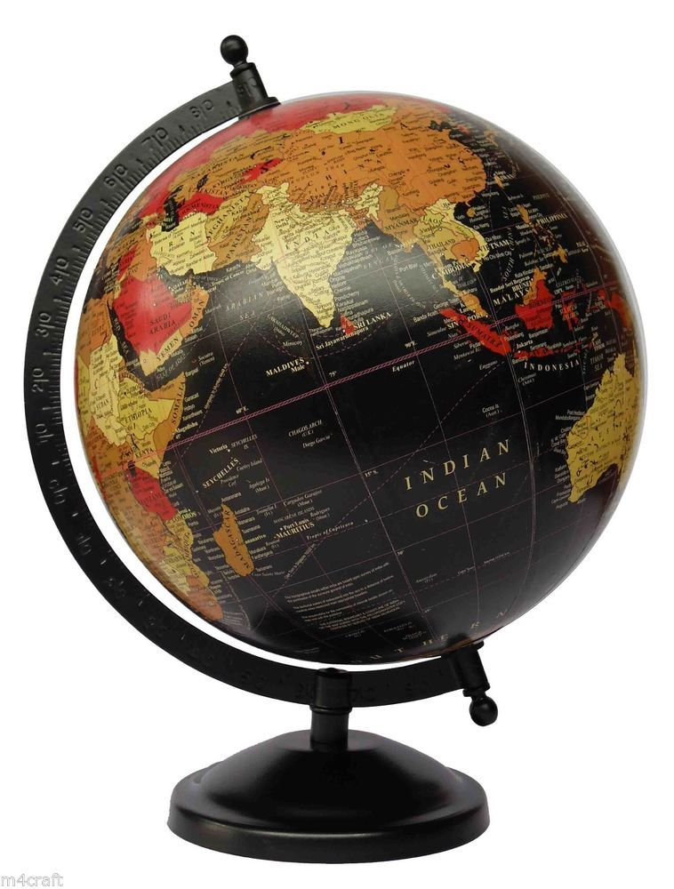 Vintage style world globe black globe 8 inch globe geographical vintage style world globe black globe 8 inch globe geographical globe gumiabroncs Images