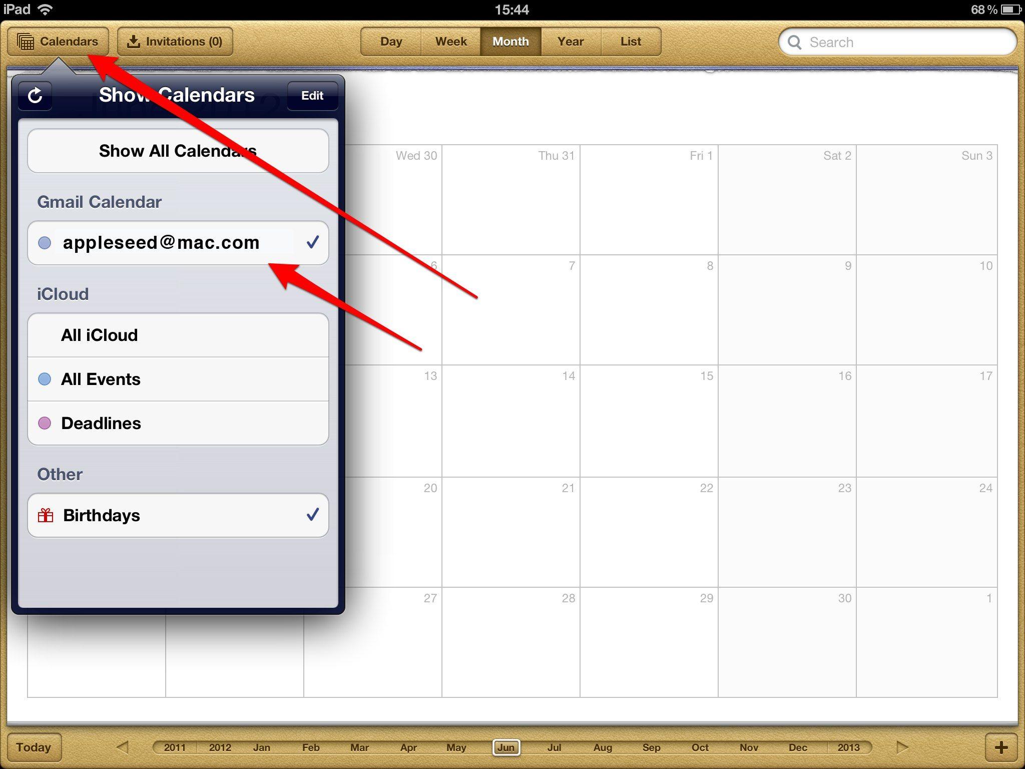 Add Gmail Calendars to an iPad Ipad, Calendar app