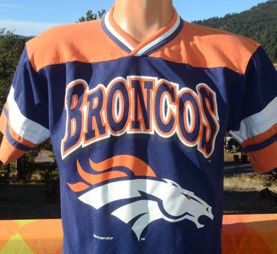 c5bd5c1a vintage 90s t-shirt denver BRONCOS football jersey tee kids 12 adult ...