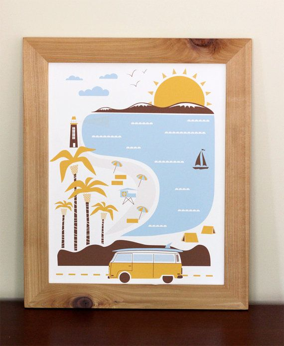 Goin to the beach inspired by our recent move to southern california this print celebrates everything we love about our new home