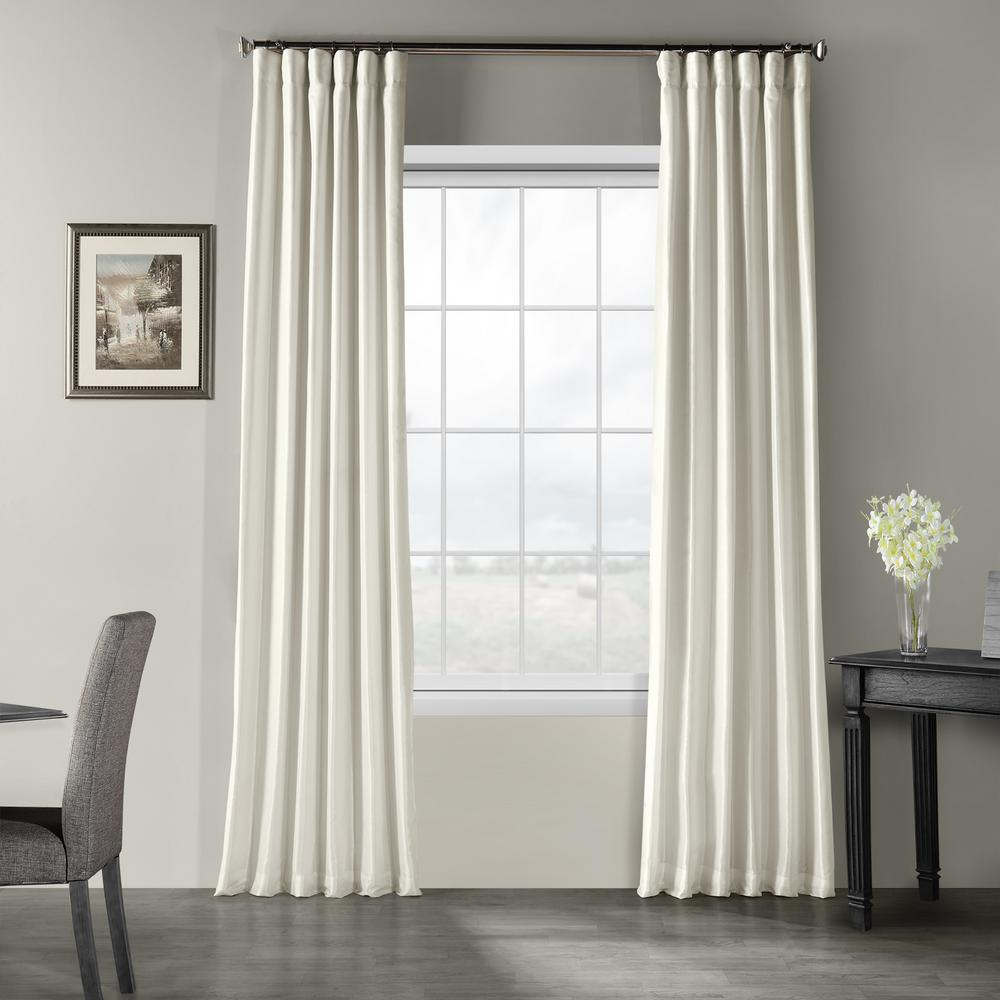 Exclusive Fabrics Furnishings Off White Solid Rod Pocket Room Darkening Curtain 50 In W X 120 In L Pdch Kbs2 120 The Home Depot Half Price Drapes Faux Silk Curtains Silk Curtains