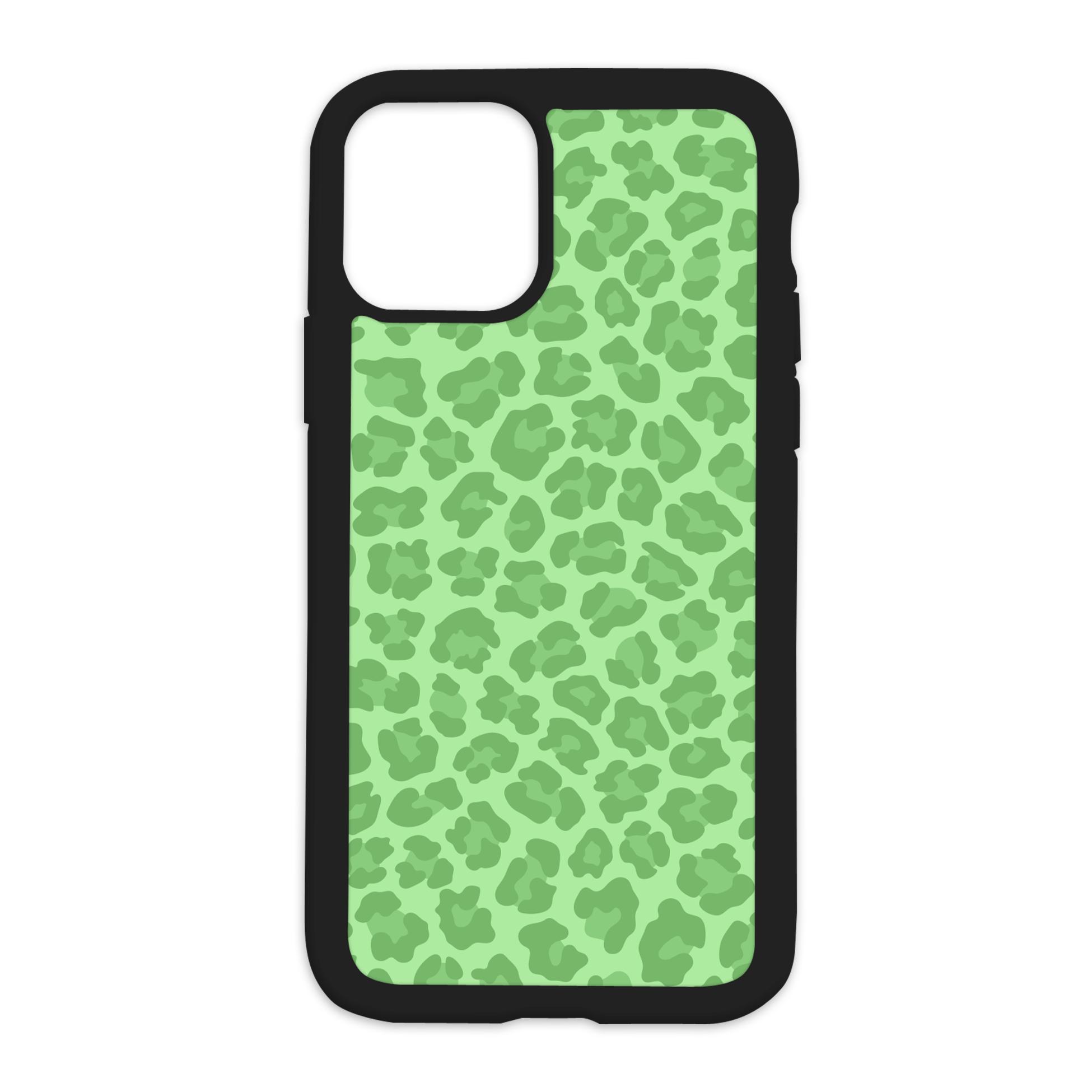 Leopard Print Design On Black Phone Case - XS MAX / Green