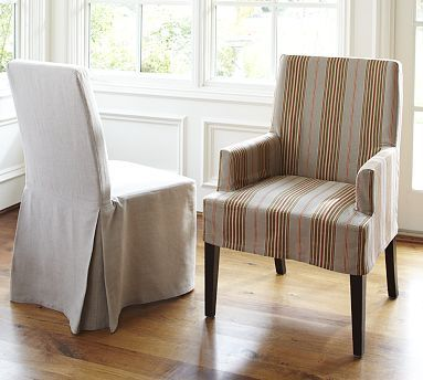 Napa Chair Slipcovers #potterybarn   The Striped Chairs Would Be Fun For  Next To The