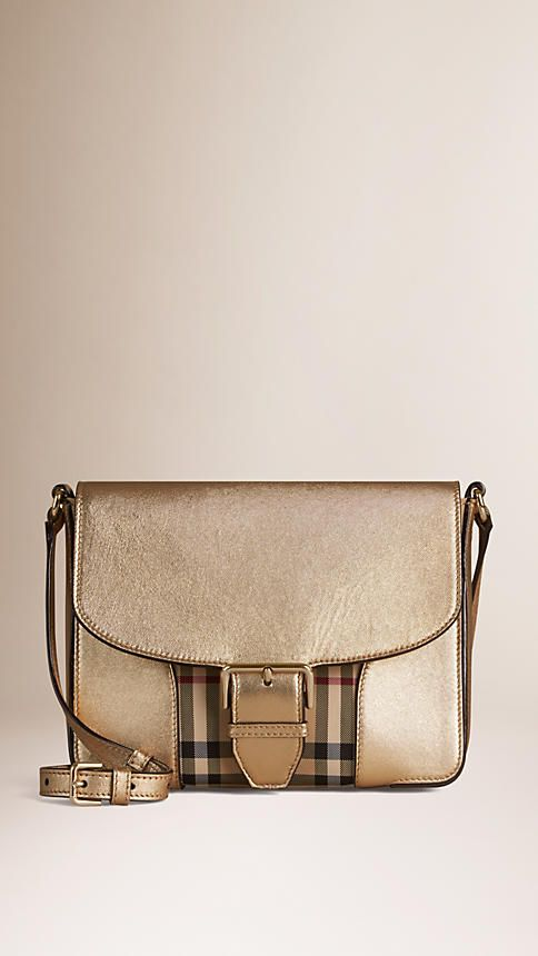 373150dec265 Honey gold Small Horseferry Check and Leather Crossbody bag - Image 1