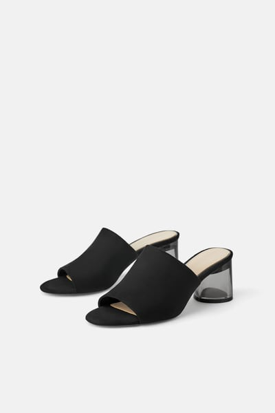 36b2436649c41f ZARA - Female - High heel mules with methacrylate heel - Black - 6½ ...