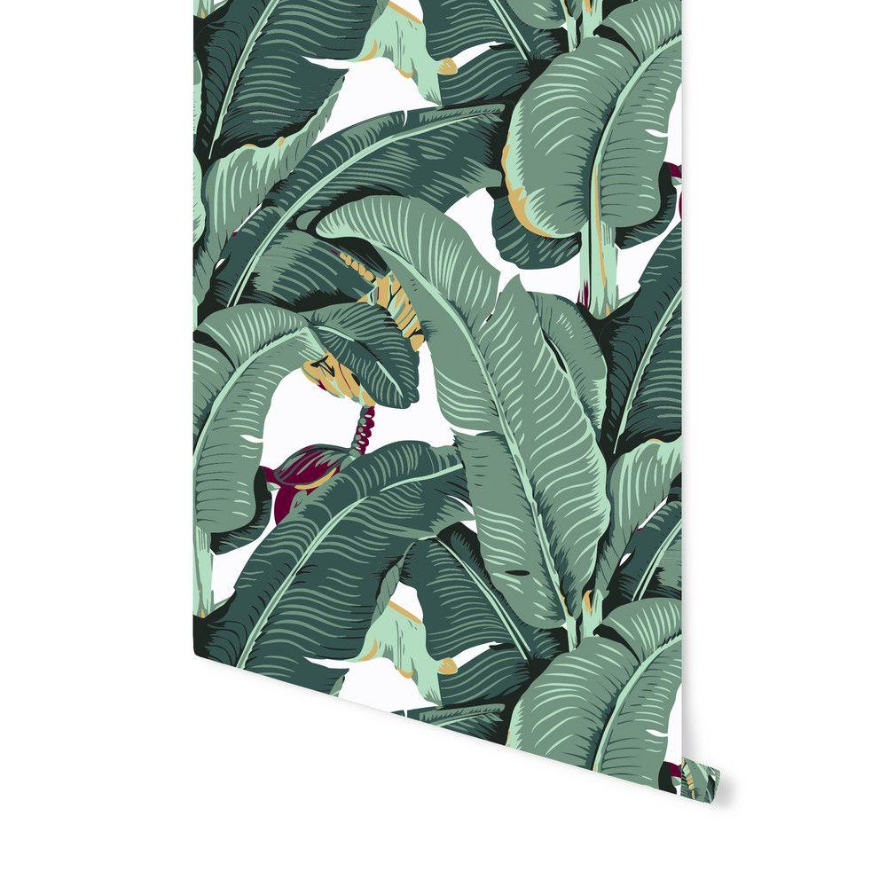 Banana Leaf Removable Wallpaper in Retro. Peel it. Stick
