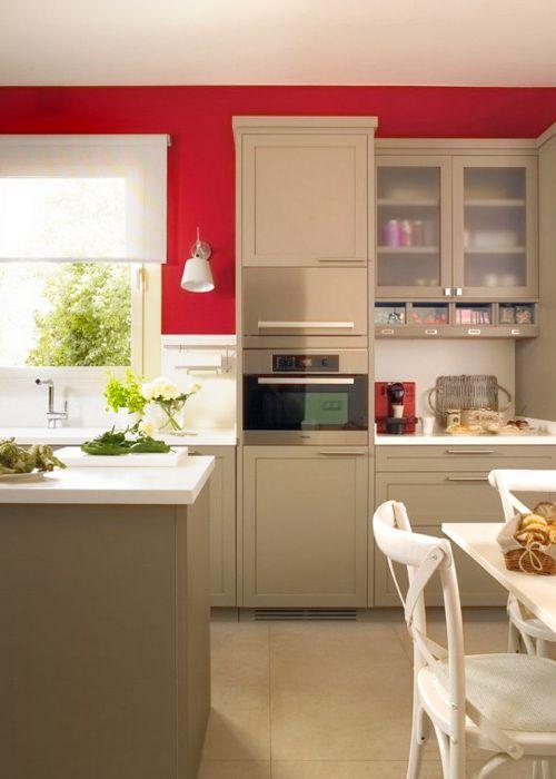 Asombroso Muebles De Cocina Color Gris Con Paredes Rojas Motivo ...