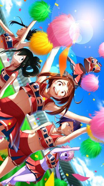 Mha Girls Wallpaper : girls, wallpaper, Academia, Girls, Cheerleader, Mobile,, Smartphone, Desktop,, Laptop, Wallpaper, (3840x2160,, 1920x1080,, 2160x3…, Hero,, Tsuyu,