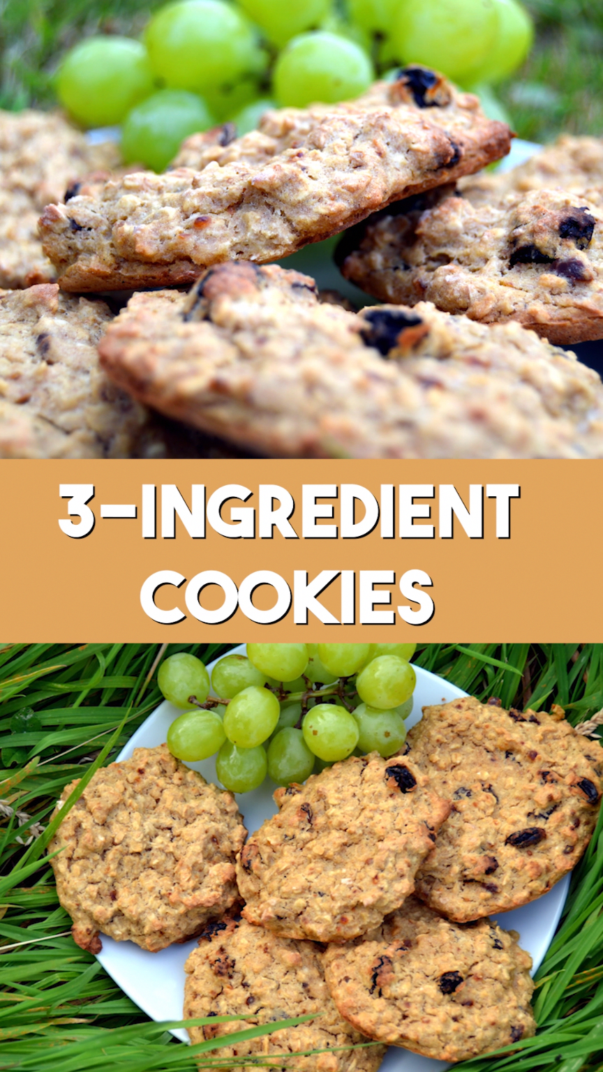 3-Ingredient Healthy Cookies Recipe with banana, oats and raisins. Can be made gluten free. No sugar, no butter, no flour and easy to make