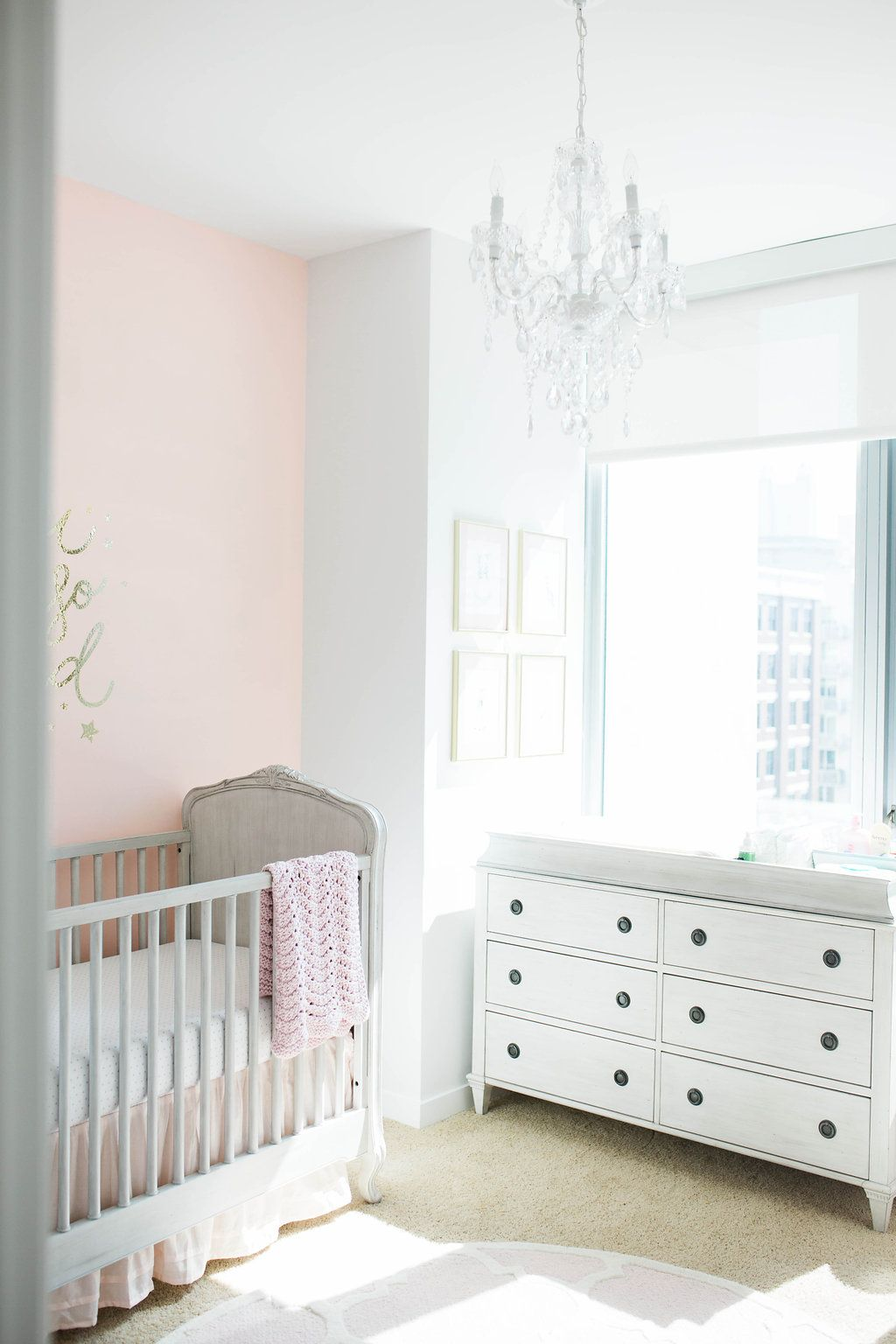 Feminine Pink and Gray Nursery - some gorgeous elegant touches that we can't get enough of!