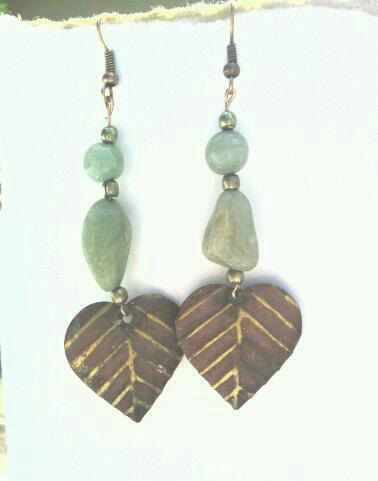 Copper and Stone Leaf Earrings. $5.00, via Etsy.
