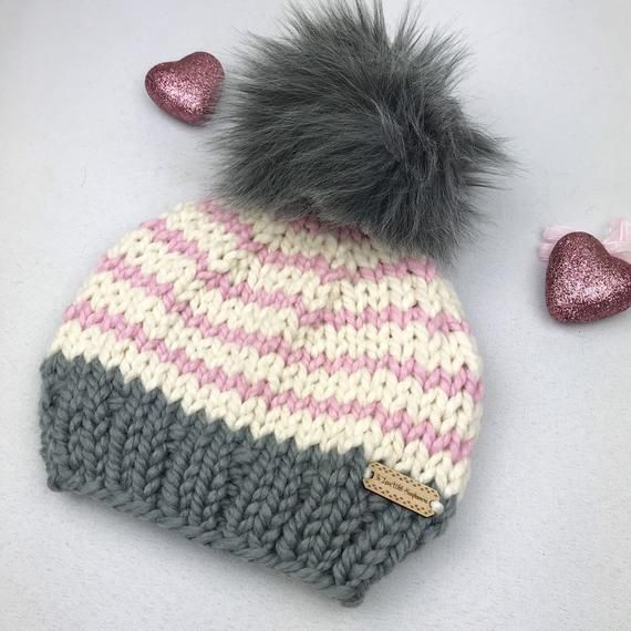 Photo of Knit Beanie with Faux Fur Pom Pom – Winter Hat for Girl – Toddler / Child Size – Baby Girl Shower  – Christmas gift