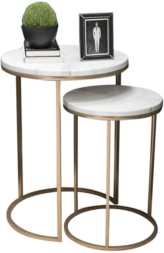 Amazon Com Modern Round Nesting Tables For Living Room Balcony Home And Office Stacking End Side Table Set Of In 2020 Side Table Decor Side Table Living Room Table