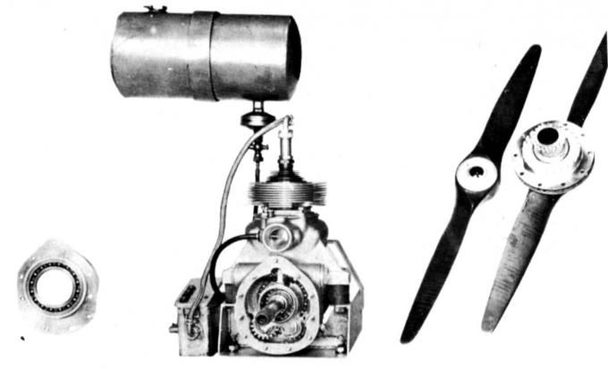 14 UAV engine; front view. The propeller and the lid