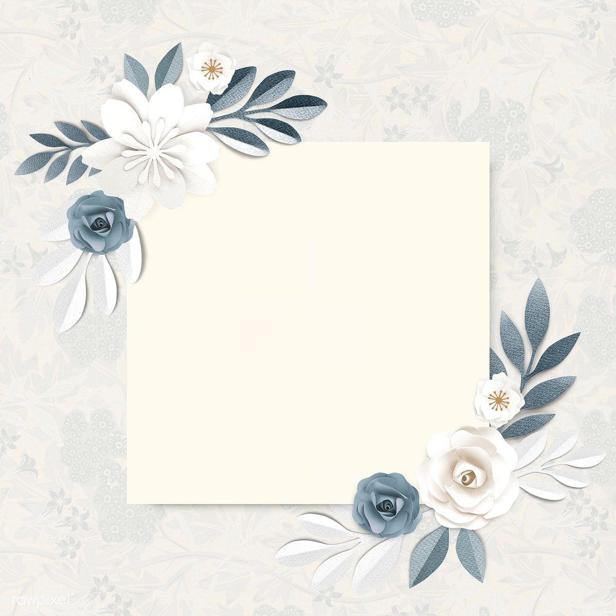 Download Premium Psd Of Square Paper Craft Flower Frame Template Flower Frame Frame Template Tumblr Flower