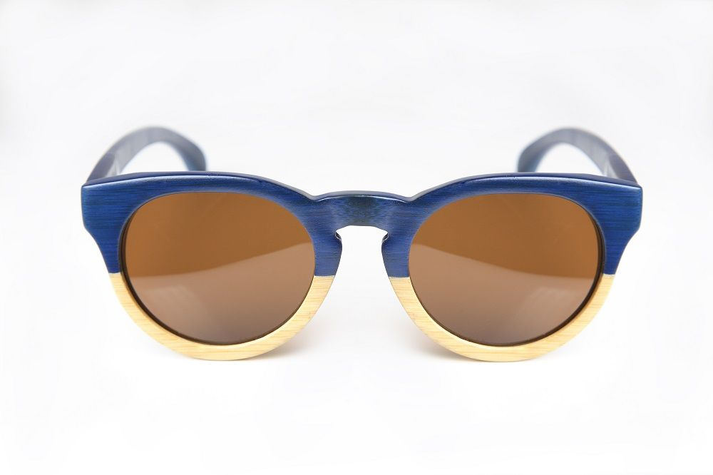 Gafas de sol de madera Chameleon (azul y madera)  Chameleon Wood Sunglasses (blue & wood)