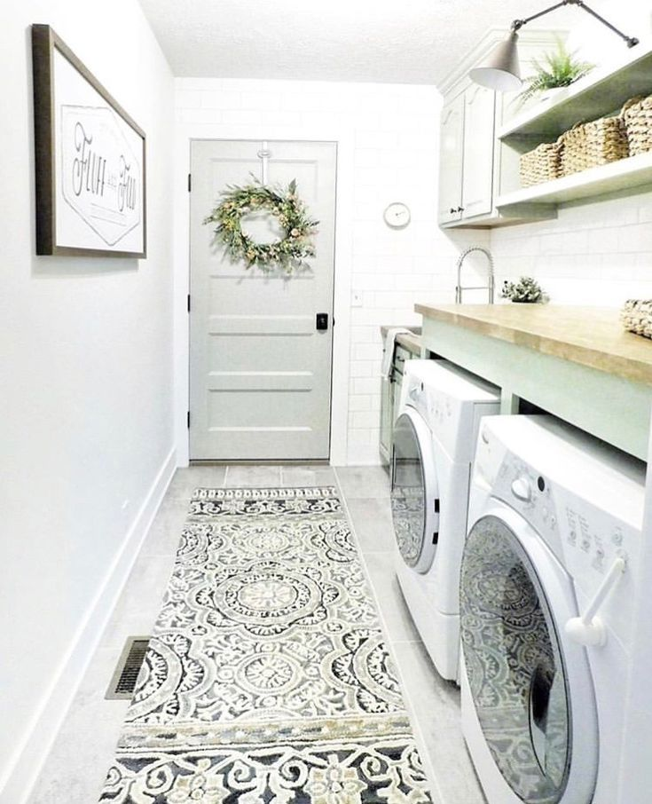 A Fun Rug Instead Of Cool Tile Floor Why Didnt I Think That Sooner Laundry Room Rugs Laundry Room Diy Laundry Room Doors