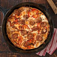 Chickpea Pizza with Sausage and Peppers
