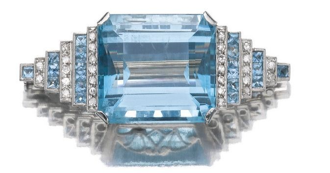 Aquamarine and diamond brooch, ca. 1935