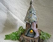 Fairy House / Night Light  / HANDMADE POTTERY - Fairy Garden Supplies / Free battery operated tea light