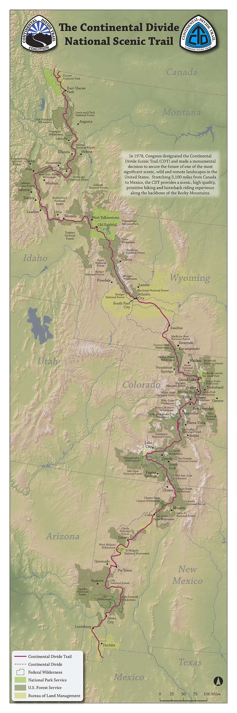 Large Poster Size CDT Map Continental Divide Trail Coalition - Cdt trail map