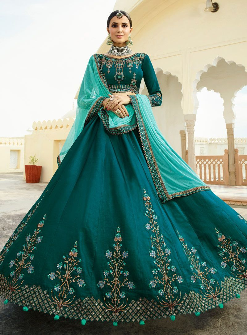 b0c417450b Buy Teal green peach silk Indian wedding lehenga choli 803 online in USA, UK  and Canada from KollyBollyEthnnics.com