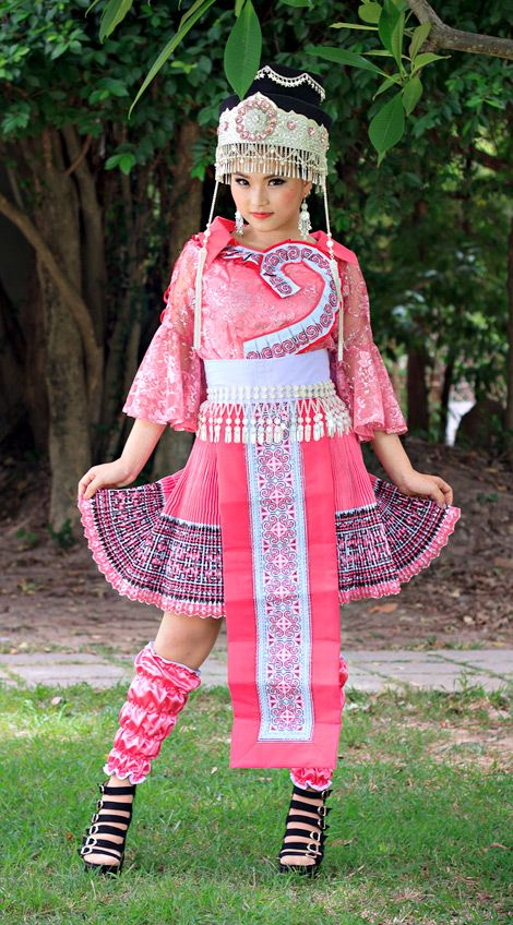 Hmong clothing pink outfit 15 170 for Laos wedding dress for sale