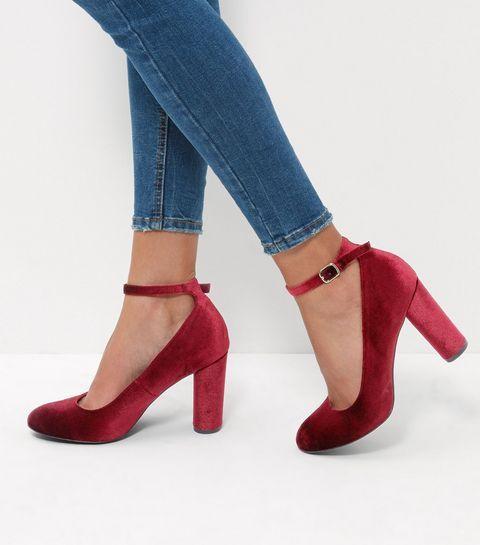 Dark Red Velvet Ankle Strap Block Heels