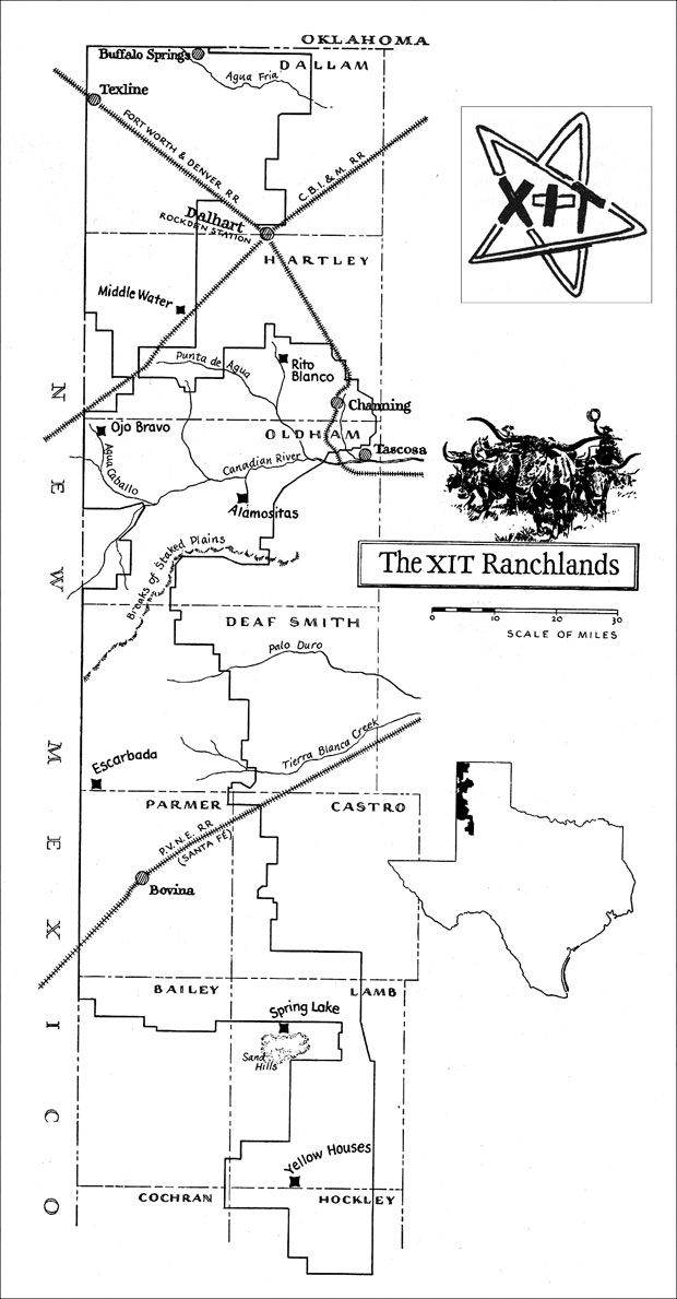Xit Ranch Map  The Largest Ranch In Texas  Approximately 30 Miles Wide And Running From North Of